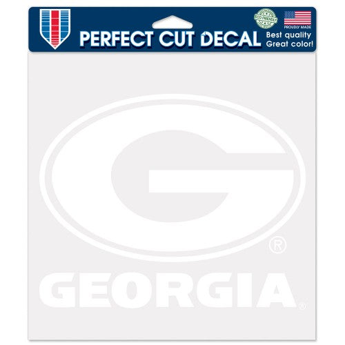 Georgia Bulldogs Decal 8x8 Perfect Cut White
