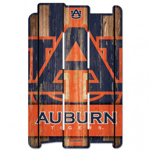Auburn Tigers Sign 11x17 Wood Fence Style