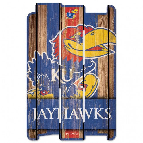 Kansas Jayhawks Sign 11x17 Wood Fence Style