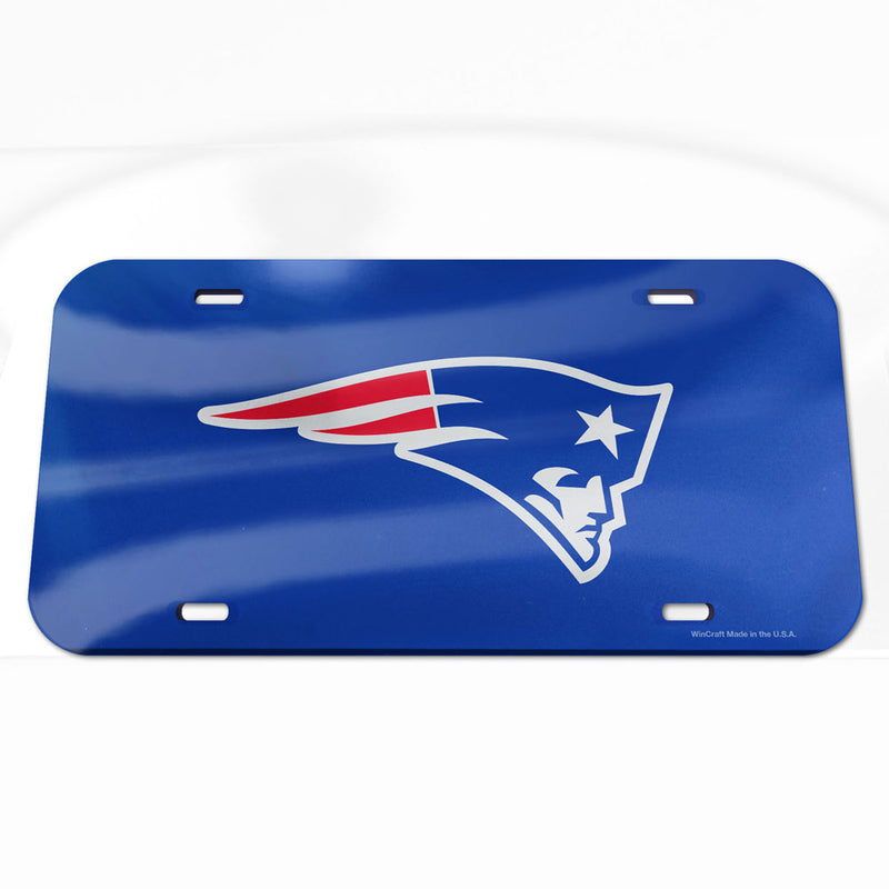 New England Patriots License Plate - Crystal Mirror - Logo
