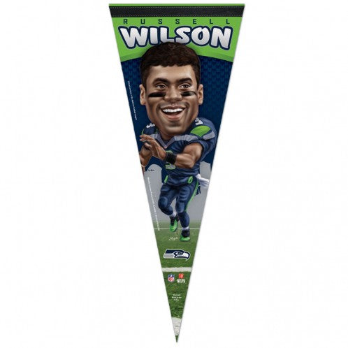 Seattle Seahawks Pennant 12x30 Premium Style Russell Wilson Caricature Design - Special Order