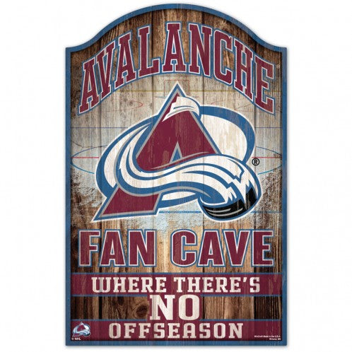 Colorado Avalanche Sign 11x17 Wood Fan Cave Design - Special Order