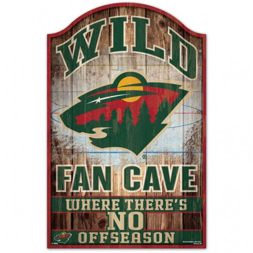 Minnesota Wild Sign 11x17 Wood Fan Cave Design - Special Order