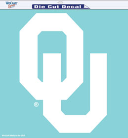 Oklahoma Sooners Decal 8x8 Die Cut White