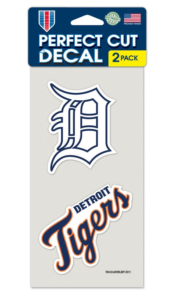 Detroit Tigers Decal 4x4 Perfect Cut Set of 2 - Special Order