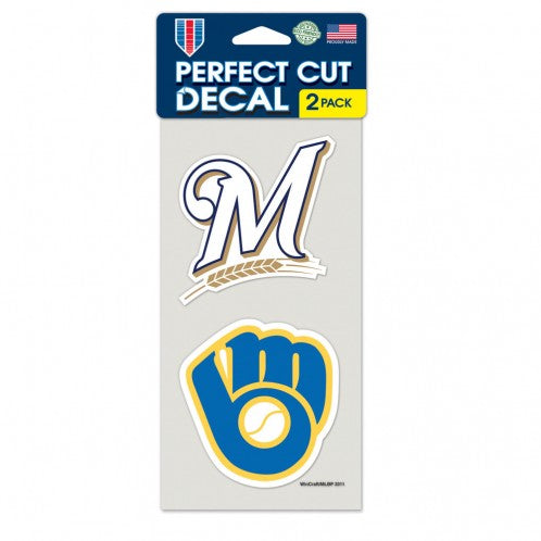 Milwaukee Brewers Decal 4x4 Perfect Cut Set of 2