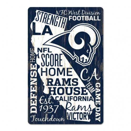 Los Angeles Rams Sign 11x17 Wood Wordage Design