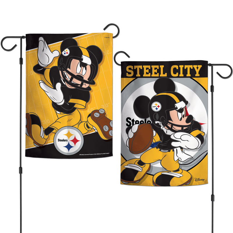 Pittsburgh Steelers Flag 12x18 Garden Style 2 Sided Disney - Special Order