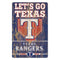 Texas Rangers Sign 11x17 Wood Slogan Design