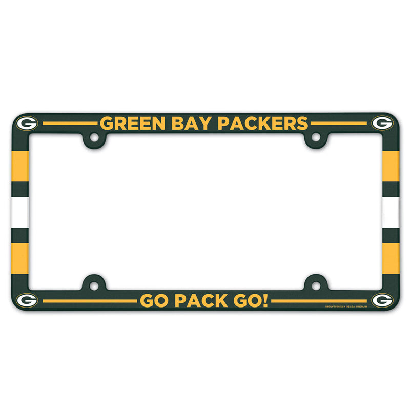 Green Bay Packers License Plate Frame Plastic Full Color Style