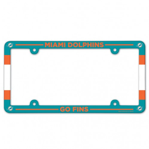 Miami Dolphins License Plate Frame Plastic Full Color Style