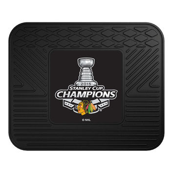 Chicago Blackhawks Car Mat Heavy Duty Vinyl Rear Seat - 2015 Stanley Cup Champions
