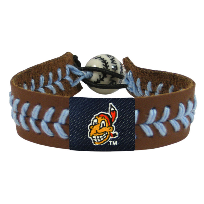 Cleveland Indians Bracelet Team Color Baseball Chief Wahoo Brown Leather Blue Thread