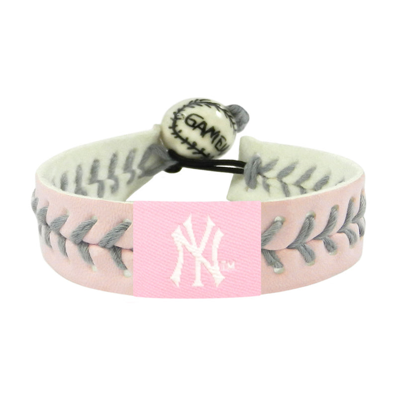 New York Yankees Bracelet Baseball Pink Silver Thread