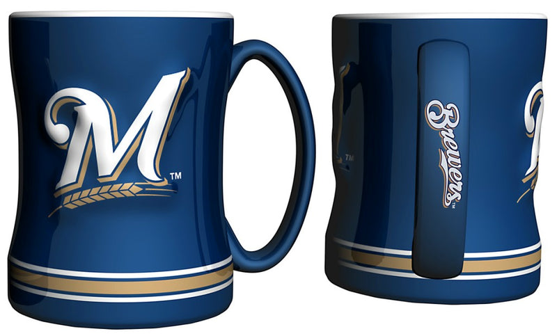 Milwaukee Brewers Coffee Mug 14oz Sculpted Relief