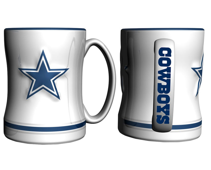 Dallas Cowboys Coffee Mug - 14oz Sculpted Relief - White