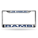 Los Angeles Rams License Plate Frame Laser Cut Chrome Blue