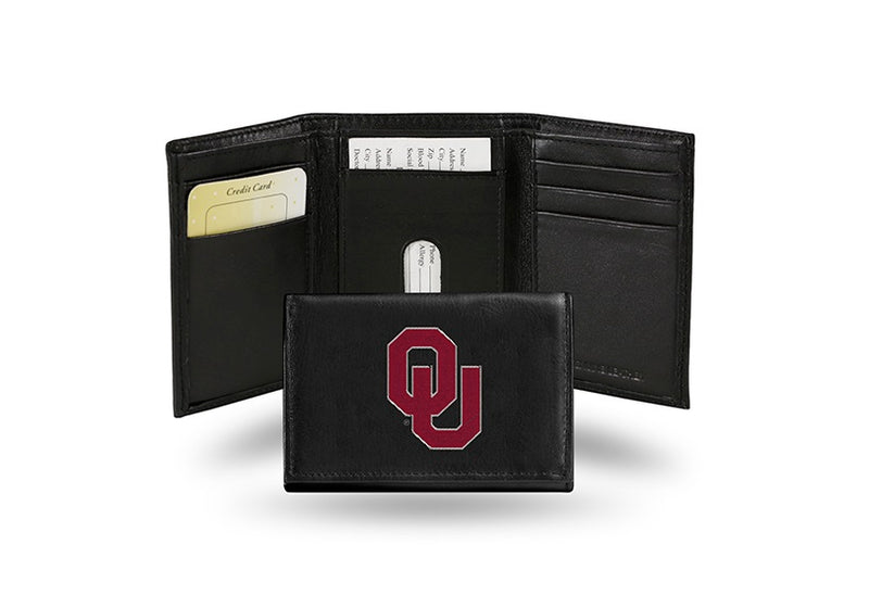 Oklahoma Sooners Wallet Trifold Leather Embroidered Alternate