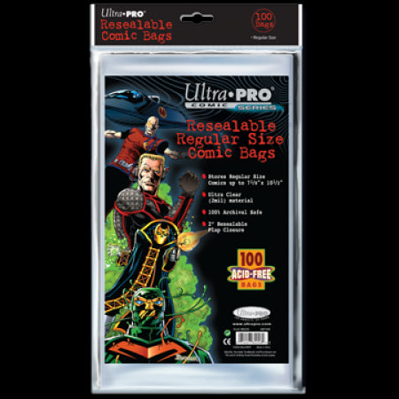 Comic Bags - Regular Size - Resealable (100 per pack)
