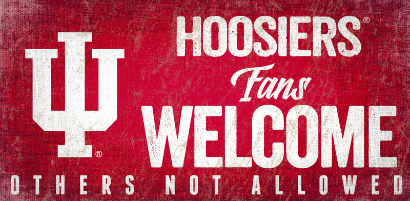 Indiana Hoosiers Wood Sign Fans Welcome 12x6 - Special Order