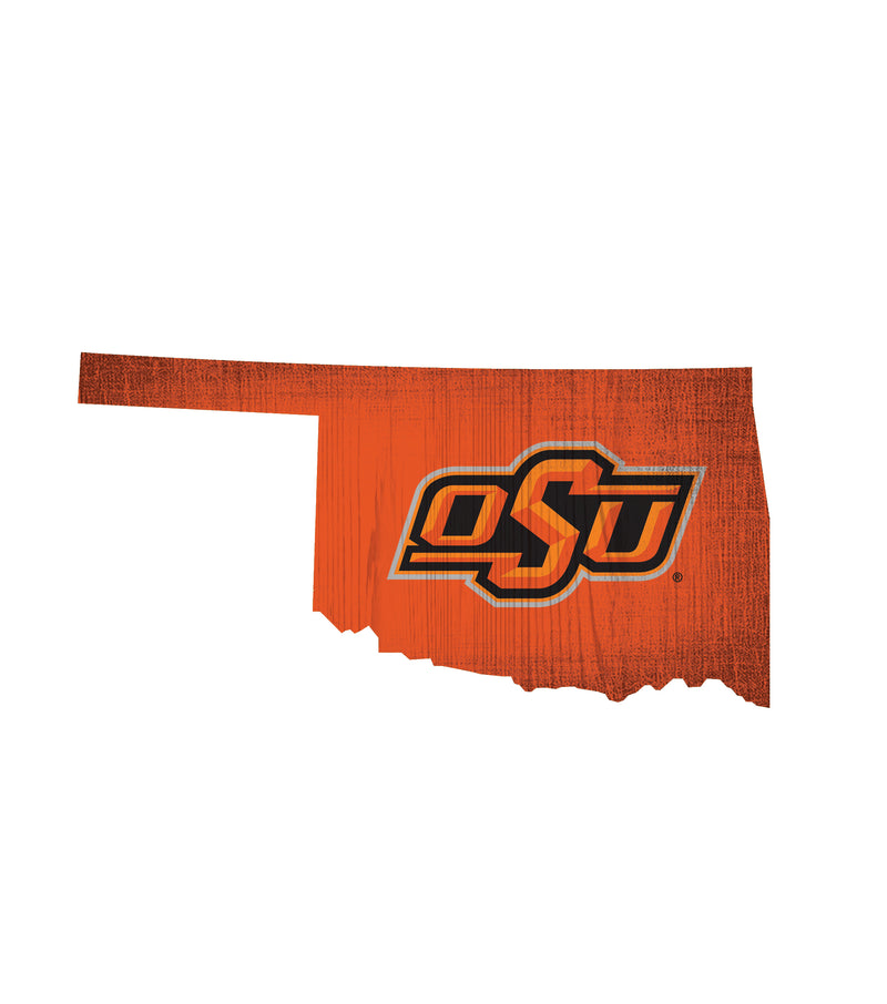 Oklahoma State Cowboys Sign Wood 12 Inch Team Color State Shape Design - Special Order