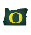 Oregon Ducks Sign Wood 12 Inch Team Color State Shape Design - Special Order