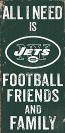 New York Jets Sign Wood 6x12 Football Friends and Family Design Color - Special Order
