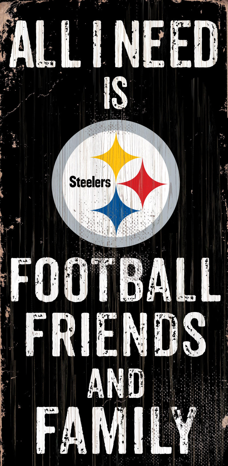 Pittsburgh Steelers Sign Wood 6x12 Football Friends and Family Design Color