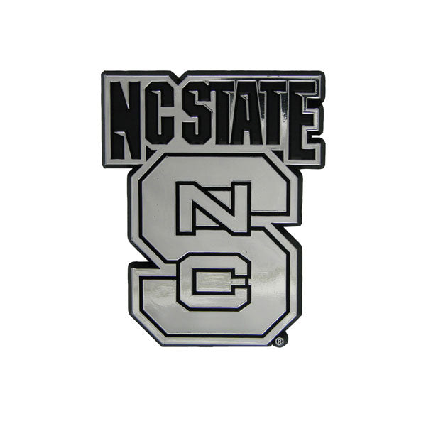 North Carolina State Wolfpack Auto Emblem Silver Chrome