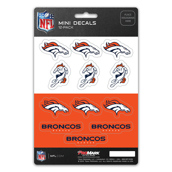 Denver Broncos Decal Set Mini 12 Pack