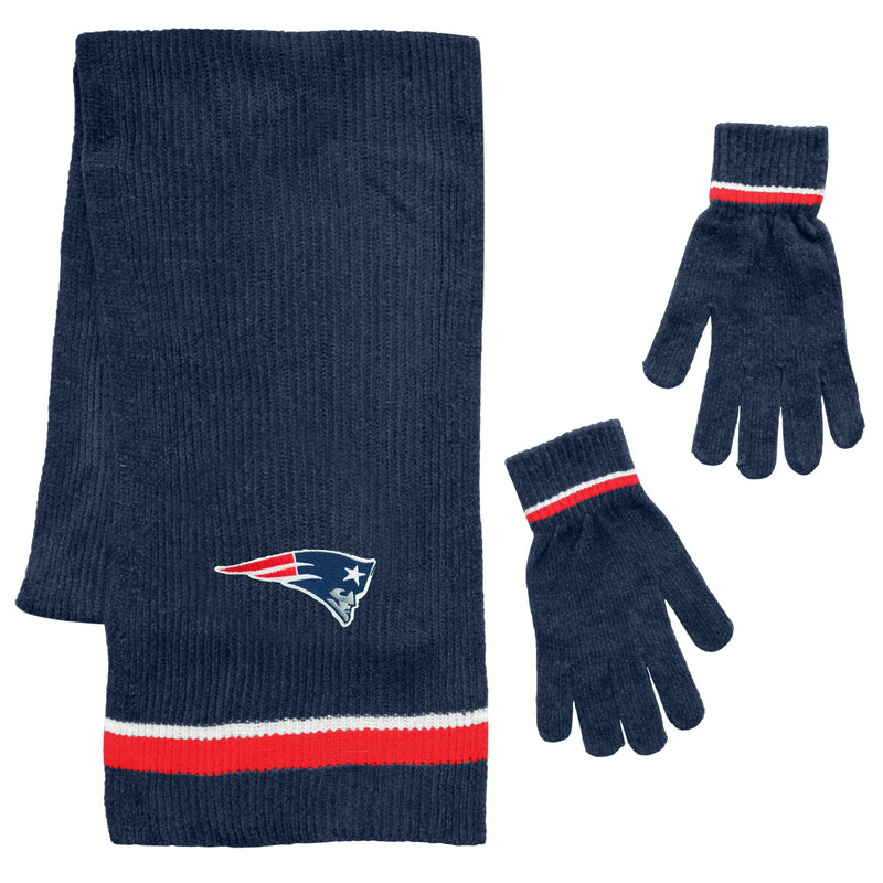 New England Patriots Scarf and Glove Gift Set Chenille