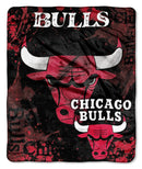 Chicago Bulls Blanket 50x60 Raschel Drop Down Design