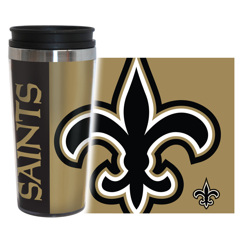 New Orleans Saints Travel Mug 14oz Full Wrap Style Hype Design