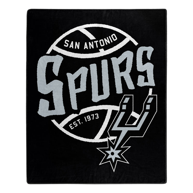 San Antonio Spurs Blanket 50x60 Raschel Blacktop Design