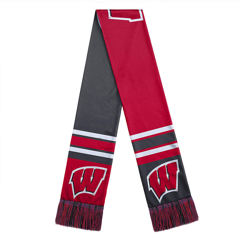 Wisconsin Badgers Scarf Colorblock Big Logo Design - Special Order