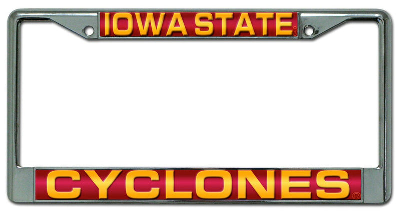 Iowa State Cyclones License Plate Frame Laser Cut Chrome