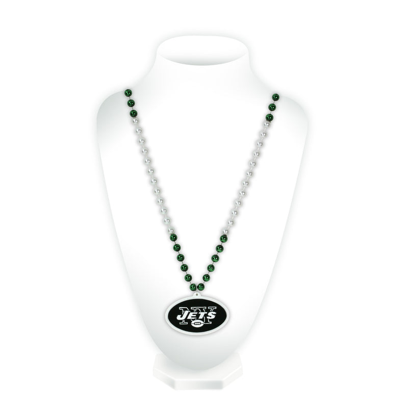 New York Jets Beads with Medallion Mardi Gras Style