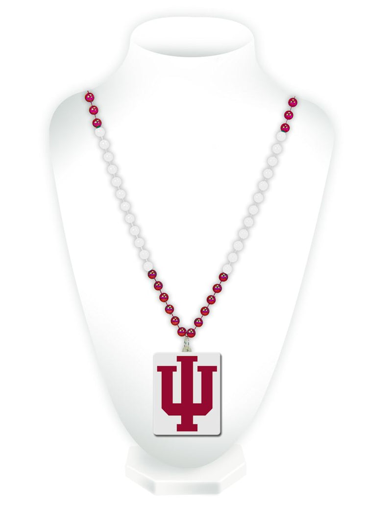Indiana Hoosiers Beads with Medallion Mardi Gras Style