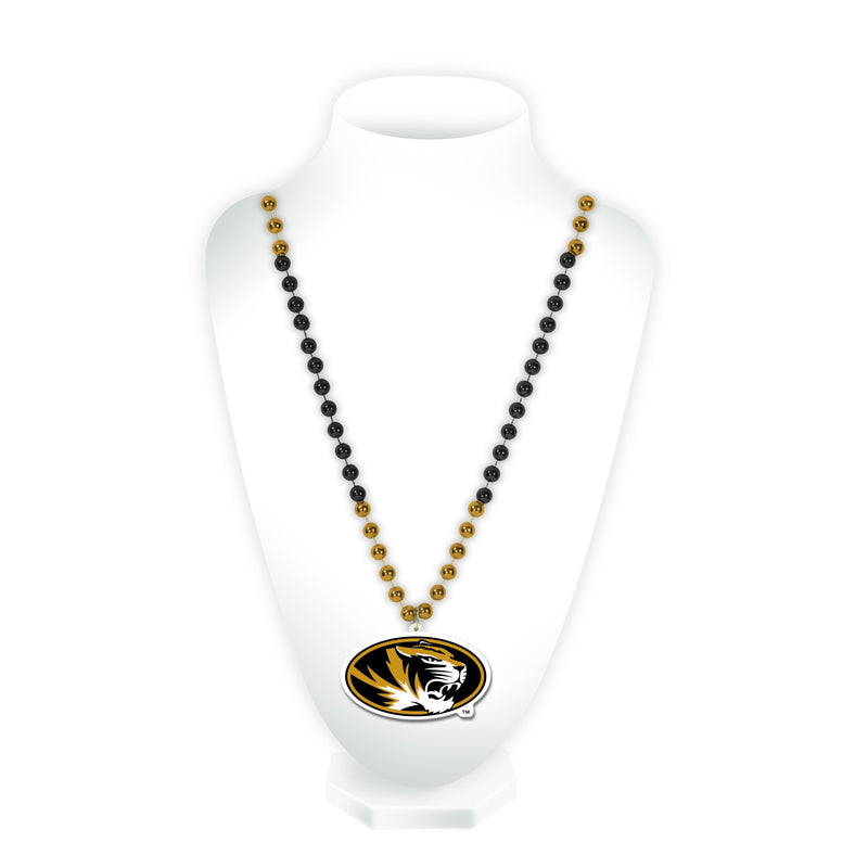 Missouri Tigers Beads with Medallion Mardi Gras Style