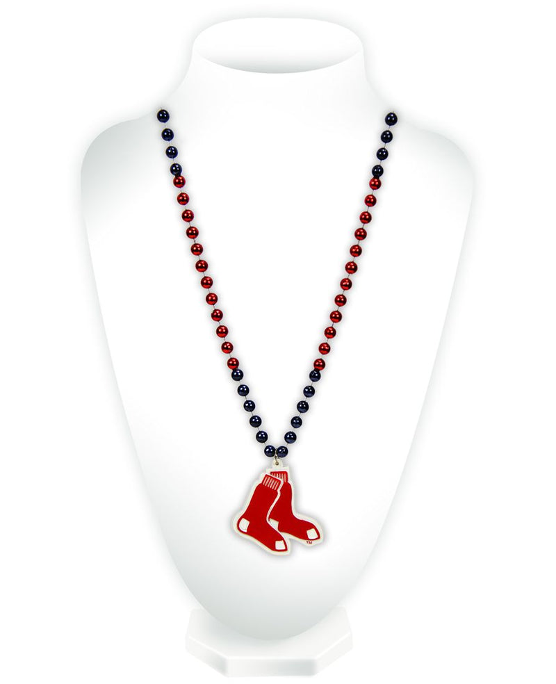Boston Red Sox Beads with Medallion Mardi Gras Style