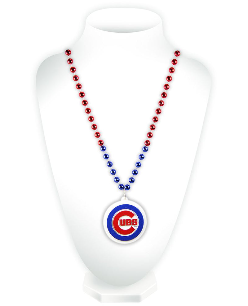 Chicago Cubs Beads with Medallion Mardi Gras Style