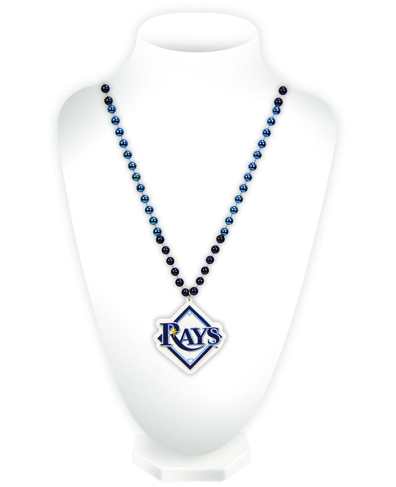 Tampa Bay Rays Beads with Medallion Mardi Gras Style