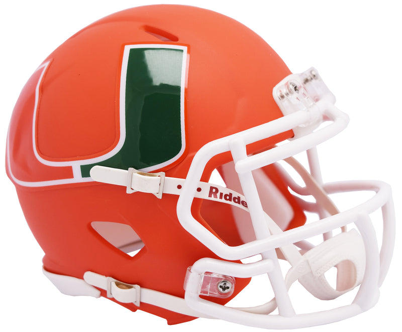 Miami Hurricanes Helmet Riddell Replica Mini Speed Style AMP Alternate
