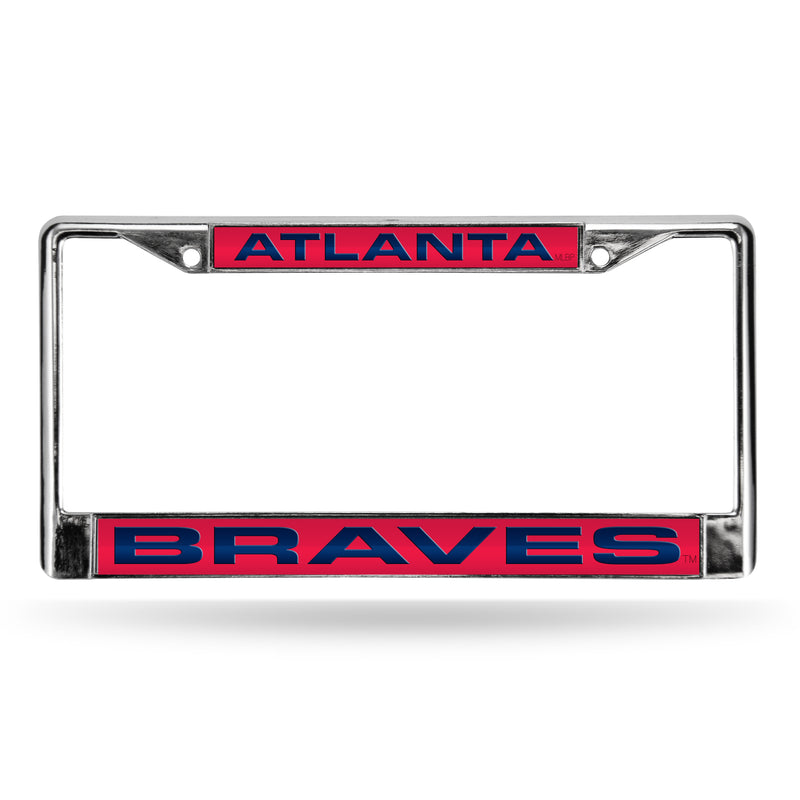 BRAVES LASER CHROME FRAME  - RED BACKGROUND WITH BLUE LETTERS