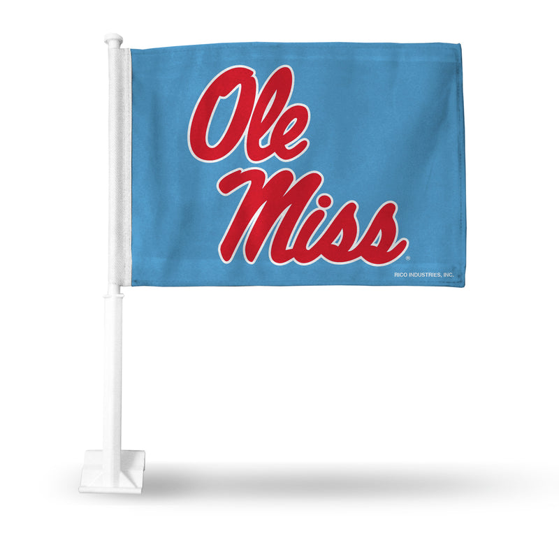 OLE MISS LIGHT BLUE WITH RED SCRIPT CAR FLAG