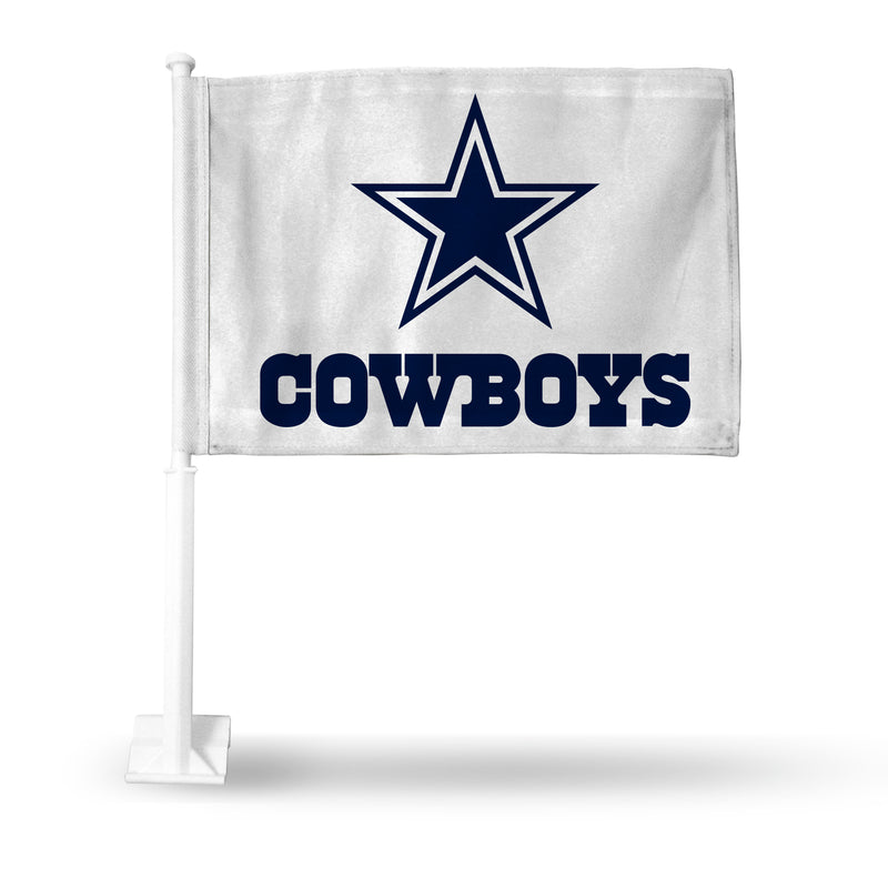 DALLAS COWBOYS WHITE WITH PRIMARY LOGO AND WORDMARK CAR FLAG