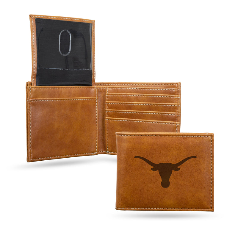 TEXAS UNIVERSITY LASER ENGRAVED BROWN BILLFOLD WALLET