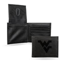 WEST VIRGINIA UNIVERSITY LASER ENGRAVED BLACK BILLFOLD WALLET