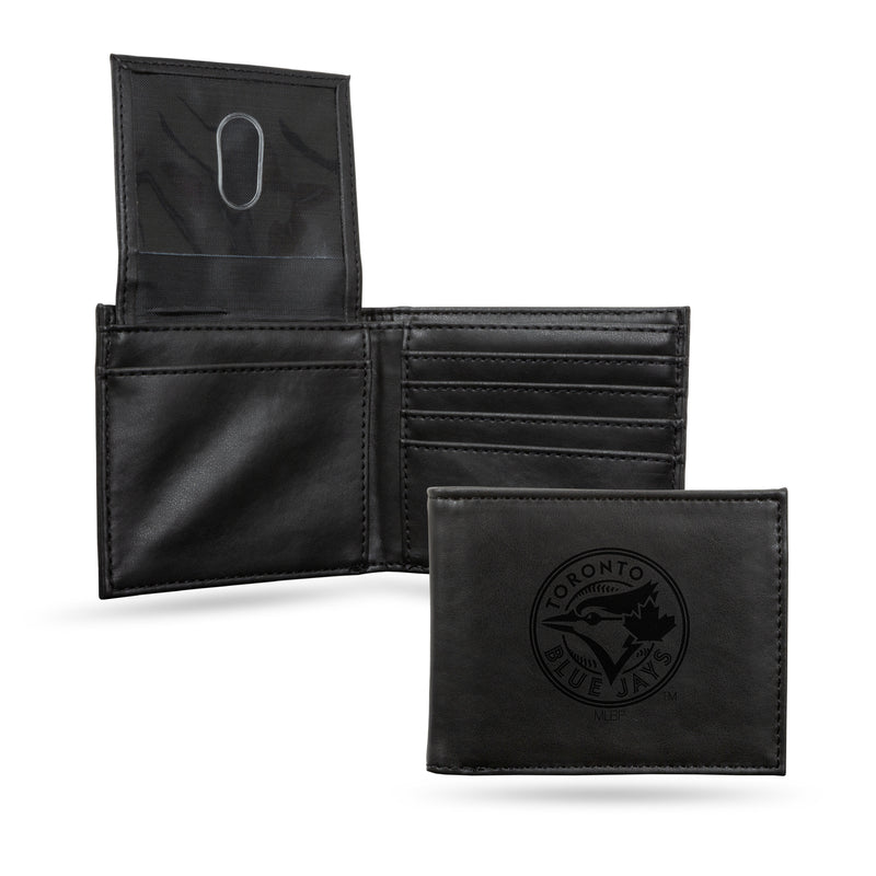 BLUE JAYS LASER ENGRAVED BLACK BILLFOLD WALLET