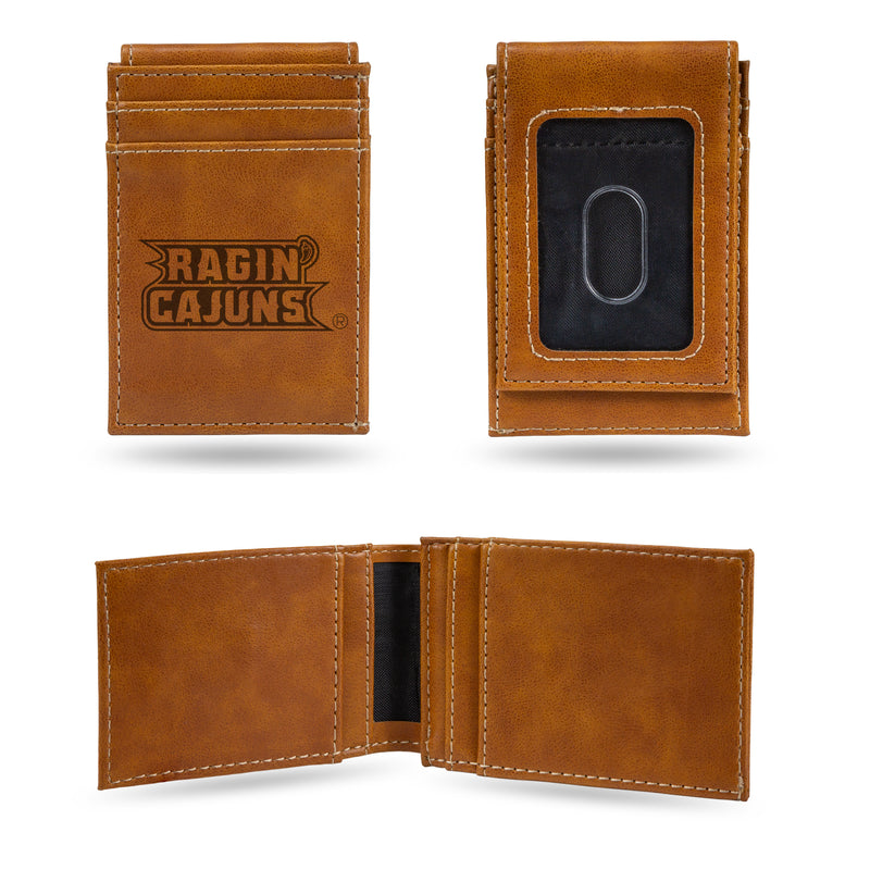 LOUISIANA LAFAYETTE LASER ENGRAVED BROWN FRONT POCKET WALLET